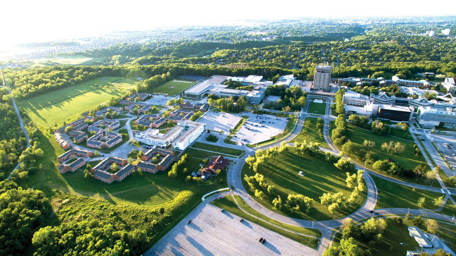 This image is an aerial view of the Brock University St. Catharines campus.